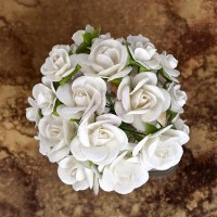 Prima - Paper Flowers - White Roses - 100 pcs