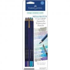 Faber-Castell - Mix & Match - 9 Art GRIP Watercolor Pencils - Blue