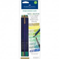 Faber-Castell - Mix & Match - 9 Art GRIP Watercolor Pencils - Green