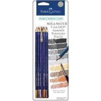 Faber-Castell - Mix & Match - 9 Art GRIP Watercolor Pencils - Neutral