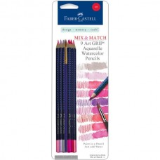 Faber-Castell - Mix & Match - 9 Art GRIP Watercolor Pencils - Red