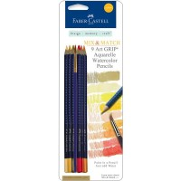 Faber-Castell - Mix & Match - 9 Art GRIP Watercolor Pencils - Yellow
