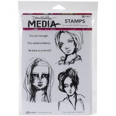 Ranger - Dina Wakley 6''x9'' Cling Stamps - Face in the Crowd