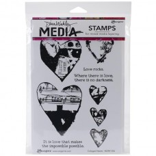 Ranger - Dina Wakley 6''x9'' Cling Stamps - Collaged Hearts